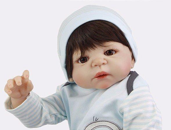 Boneca Bebe Reborn 55cm menino 100% silicone - EMJ8JEA3R
