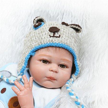 Boneca Bebe Reborn 48cm menino 100% silicone - PKGKBXVZE