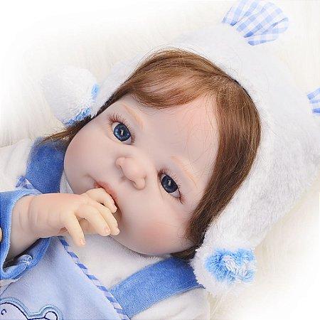 Boneco Bebe Reborn Menino 100% Silicone