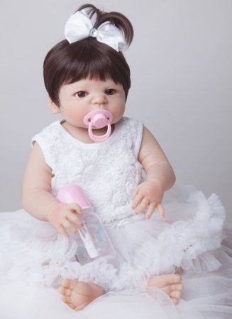 Bebê Reborn 55 Centímetros 100% Silicone - 9H4HB25S5
