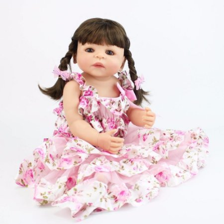 Boneca Reborn Com Vestido 100% Silicone - NCG4P4BU7