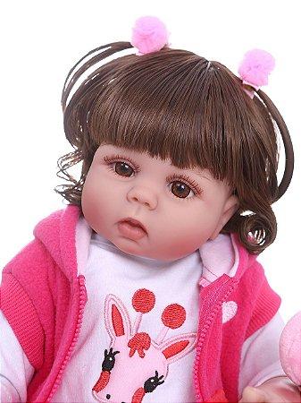 Linda Bebê Reborn 100% Silicone 48 Centímetros - 56V286PWR