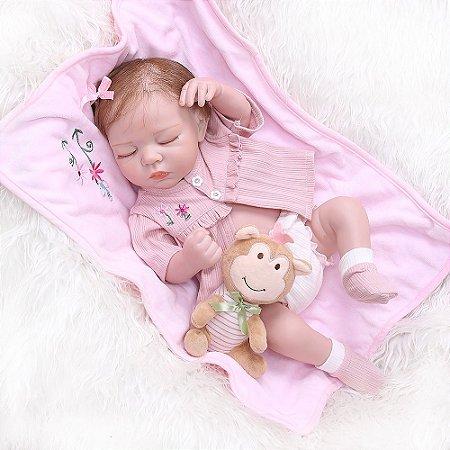Linda Bebê Reborn Dormindo 100% Silicone 48 Centímetros - 69GJZMPWT
