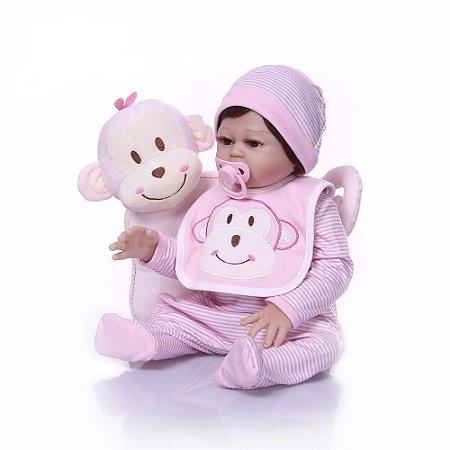 Bebê Reborn 48 Centímetros com Travesseiro Macaquinho