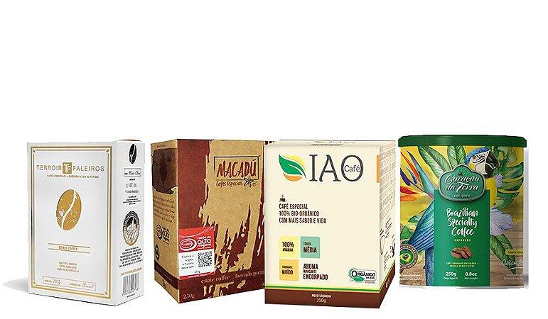 """Kit """"Fab4"""" - Café Especial Coração da Terra + Macadú + IAO Especial + Terroir Faleiros"""