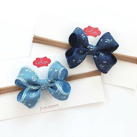 Faixinha - Tiarinha Jeans Floral (7 x 5 cm)