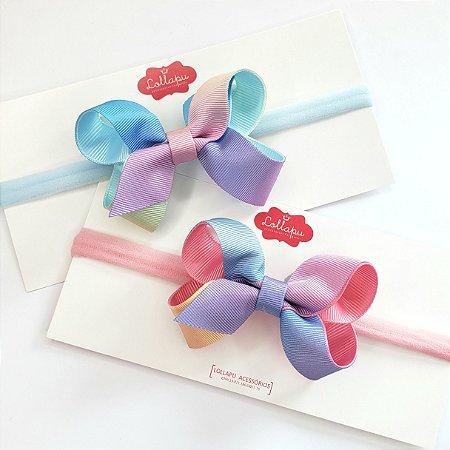 Faixinha - Tiarinha Laço Degradê Candy Colors M (7 cm)