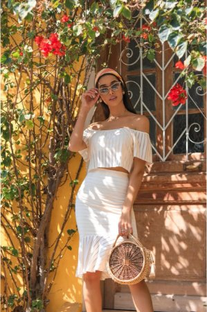 4788df19c0 Conjunto Saia e Cropped Devore Anna Torquato - Donzela Flor Moda Online
