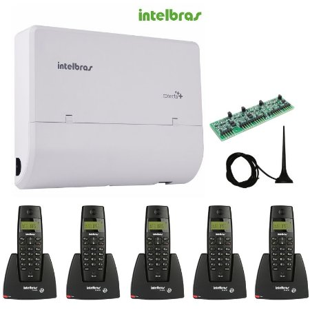 Kit Central Pabx Conecta + 2/4 Intelbras + 5 Ramais Sem Fio