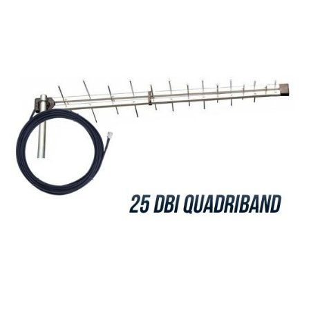 Antena Externa p/ Celular Rural Imacity Quadriband 25DBI C/ Cabo 15m