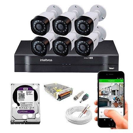 Kit 6 Câmeras de Segurança HD Completo c/ DVR 8 Canais MHDX 1108 Intelbras