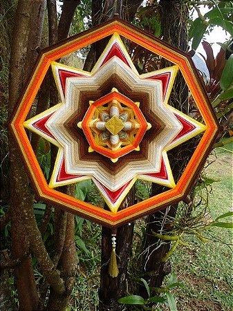 Mandala de lã e fitas  (50 cm)