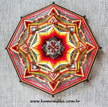Mandala da Coragem 65 cm e 8 pontas com bordados