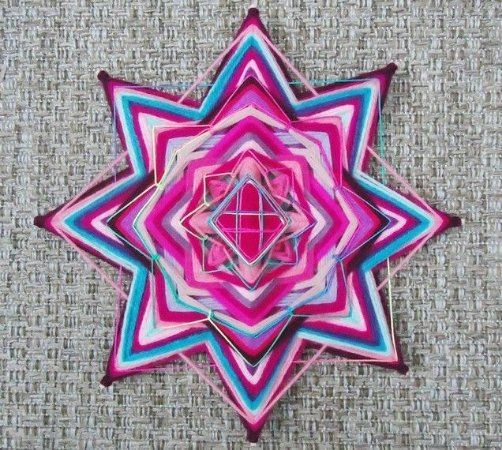 Mandala rosa, formato estrela
