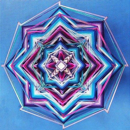 Mandala 8 pontas com fitas 80 cm