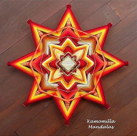 mandala estrela com Bordado em fios amarelos com 50 cm