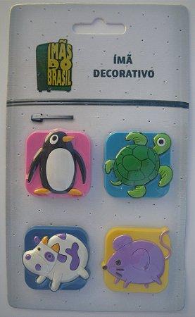 Imã Decorativo Kit Animais c/4 - Imãs do Brasil