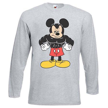 Camiseta Manga Longa Mickey Mouse cor Cinza