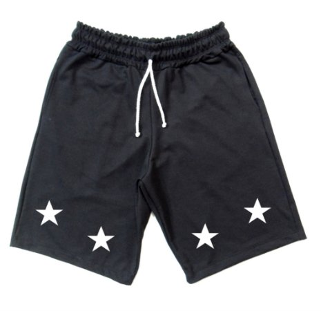 Bermuda de Moletom Estrela Cor Preta