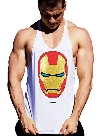 Regata Cavada Homem de Ferro Mascara Dourada - Loja Marombada ... 72582ebe6e8