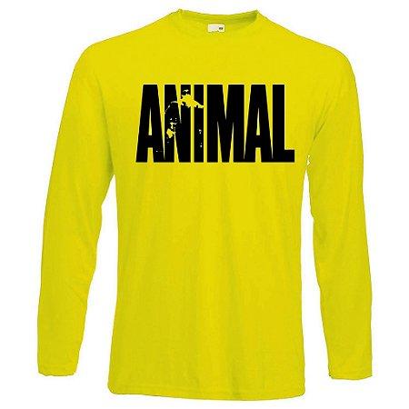 Camiseta Manga Longa Animal cor Amarela