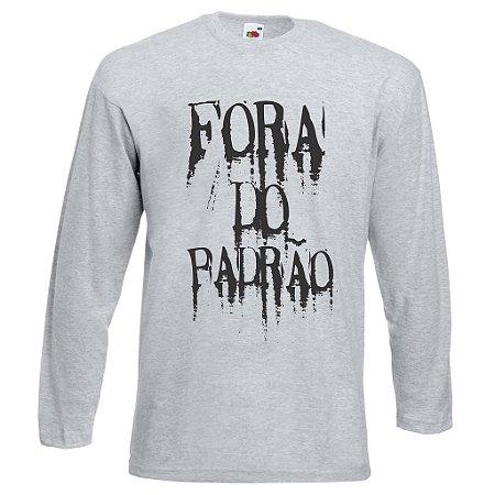 Camiseta Manga Longa Fora do Padrão cor Cinza Mescla