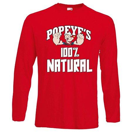 Camiseta Manga Longa Popeyes 100% Natural