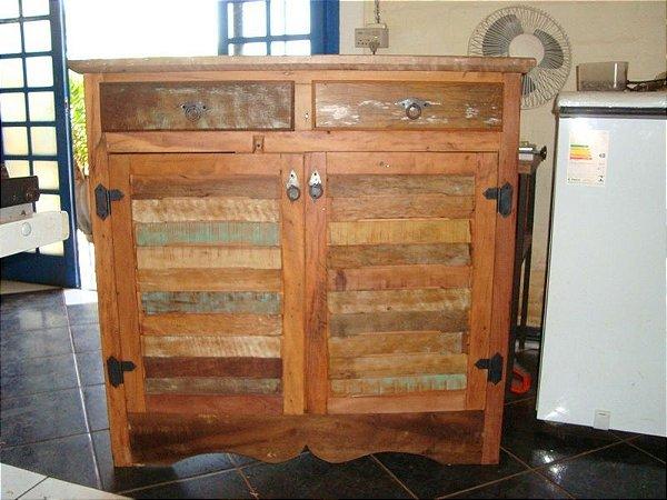 Balcão duas Portas e duas gavetas - Peroba rosa - Madeira maciça