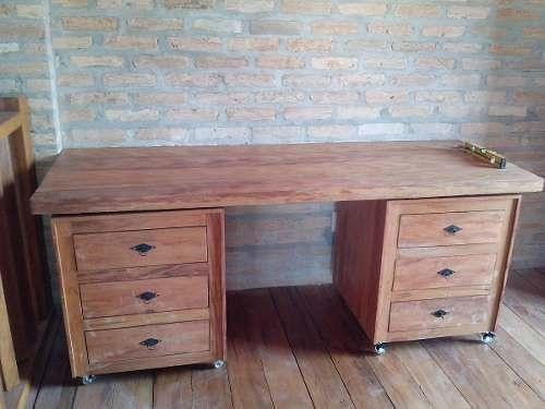 Mesa Escrivaninha E Gaveteiros Com Rodas - Madeira Maciça!