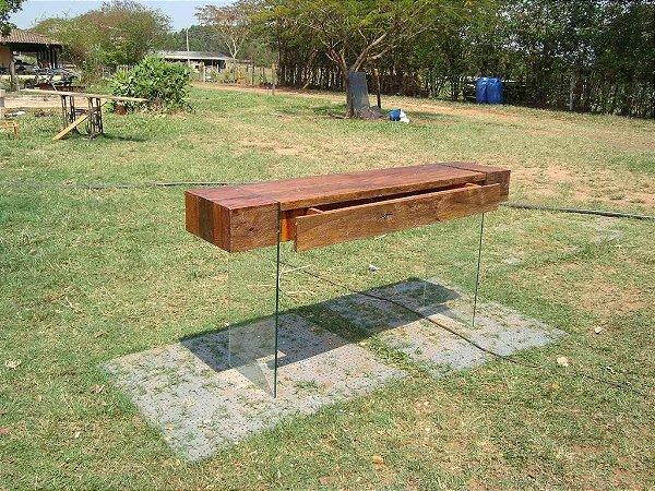 Aparador madeira e vidro temperado 100% Peroba Rosa - Fabricação Própria