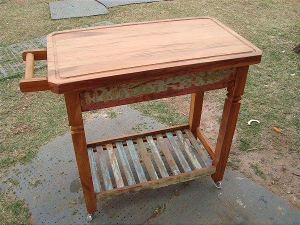 Carrinho de apoio para churrasco - Em madeira maciça, Peroba Rosa
