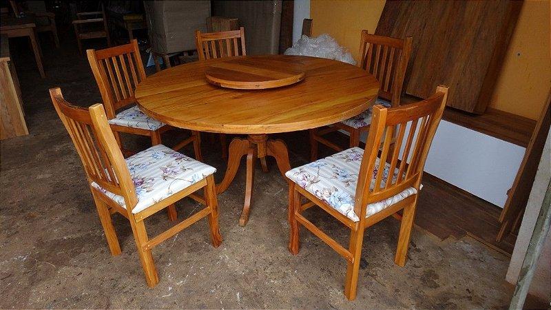 Novo modelo! Conjunto de Mesa com tampo giratório móvel e cadeiras - Em Peroba Rosa