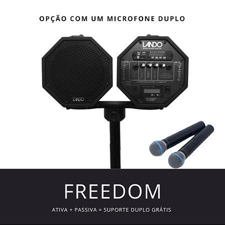 PROMOÇÃO - Freedom R3 preta Microfone Duplo + Caixa Passiva