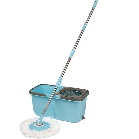 Esfregão Mop Limpeza Prática com Balde 13 Litros Azul - Mor
