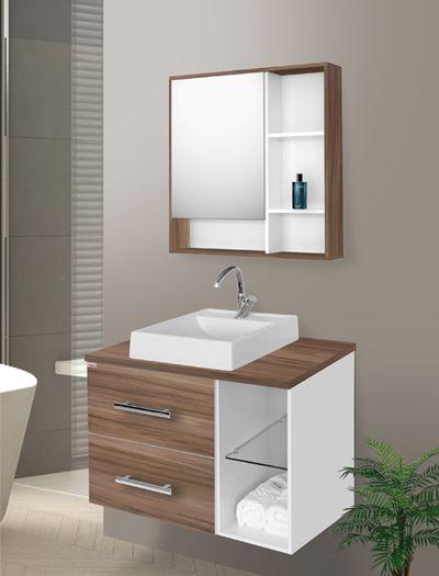 Conjunto Banheiro Blocc Nogal c/ Branco 80cm - Fabribam