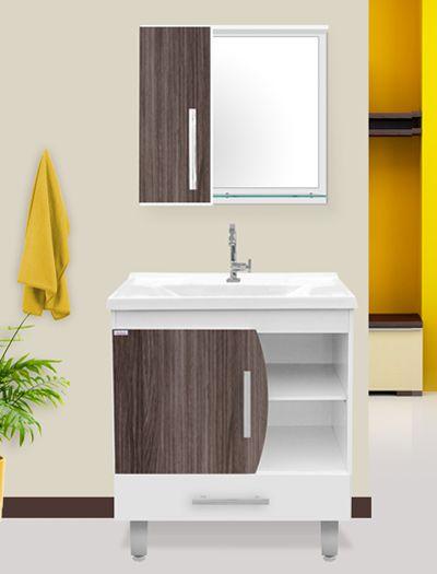 Conjunto Banheiro c/ Pés Acordes Amêndoa c/ Branco 80cm - Fabribam