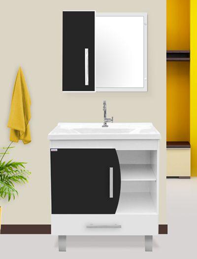 Conjunto Banheiro c/ Pés Acordes Preto c/ Branco 80cm - Fabribam