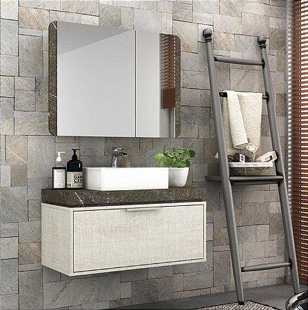 Balcão para Banheiro 80cm com Espelheira e Cuba Ref 840 Cewal