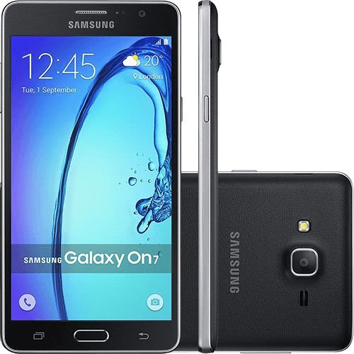 "Smartphone Samsung Galaxy On 7 Dual Chip Android 5.1 Tela 5.5"" 16GB 4G Câmera 13MP - Preto"
