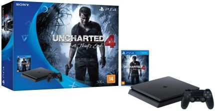 Console Playstation 4 Slim - HD 500 Gb + Jogo Uncharted 4 - Oficial Sony Brasil - PS4