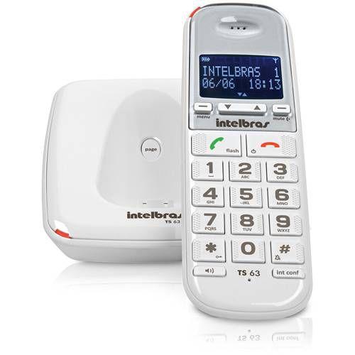 Telefone Sem Fio DECT 6.0 com Identificador de Chamadas e Viva Voz TS63V Branco - Intelbrás