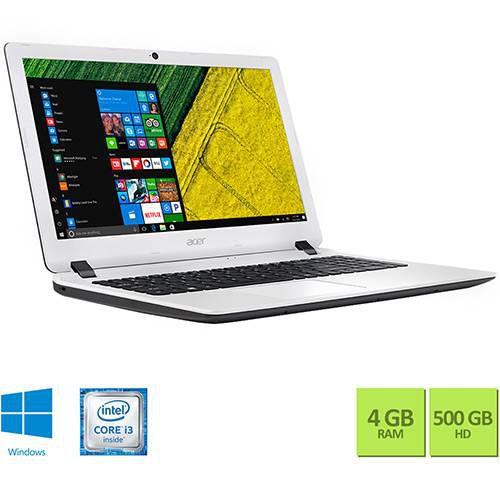 """Notebook ES1-572-347R Intel Core I3 4GB 500GB Tela 15,6"""" Hd W10 Branco - Acer"""
