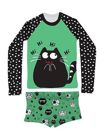 Camisa UV + Sunga - Gato Preto