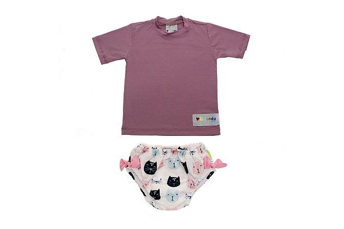Camisa UV + Biquíni Fralda - Gatinhas
