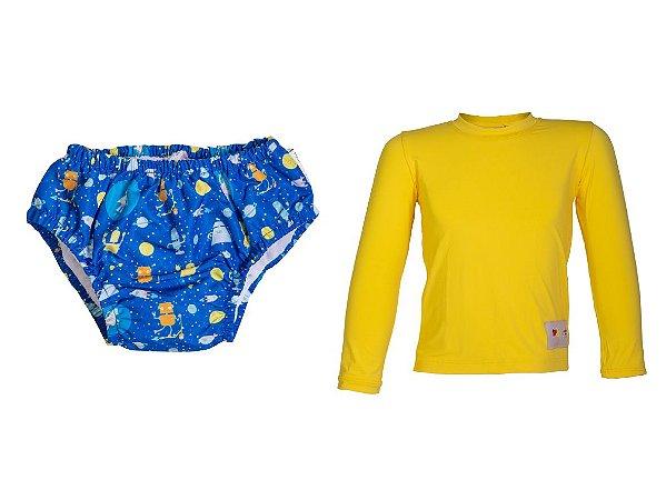 Camisa UV + Sunga Fralda - Robô