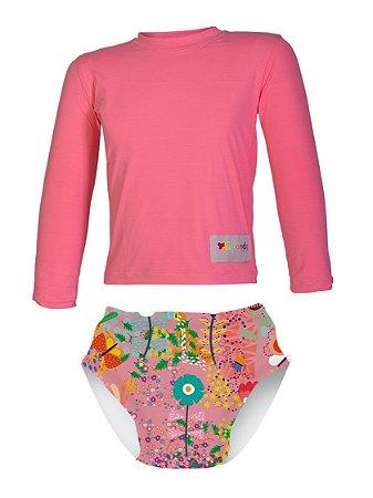 Camisa UV + Biquíni Fralda - Jardim Encantado