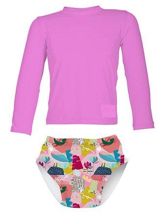 Camisa UV + Biquíni Fralda - Pássaros