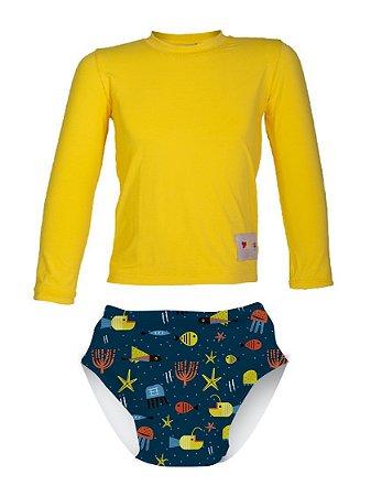 Camisa UV + Sunga Fralda - Fundo do Mar
