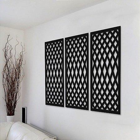 Trio de Painéis Decorativos - Linhas Distorcidas - P18