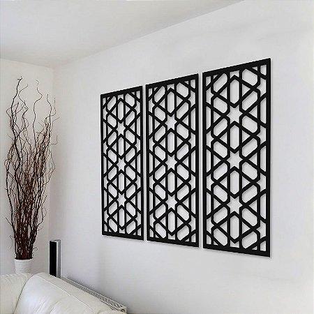 Trio de Painéis Decorativos - Hexagono - P21